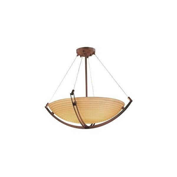 Justice Design Porcelina Crossbar Dark Bronze 6-light Pendant, Sawtooth Round Bowl Shade