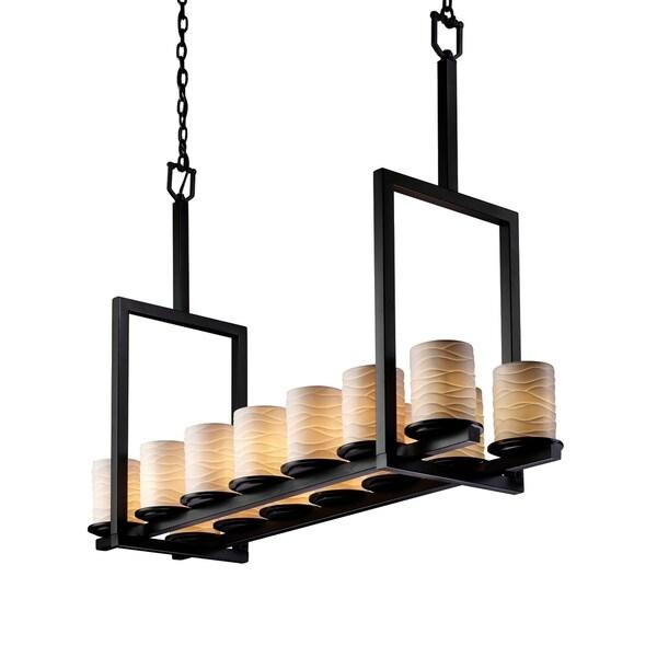 Justice Design Limoges Dakota Matte Black 14-light 34 inch Chandelier, Waves Cylinder with Flat Rim Shade