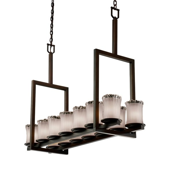 Justice Design Veneto Luce Dakota Dark Bronze 14-light Chandelier, Tall White Frosted Cylinder with Rippled Rim Shade