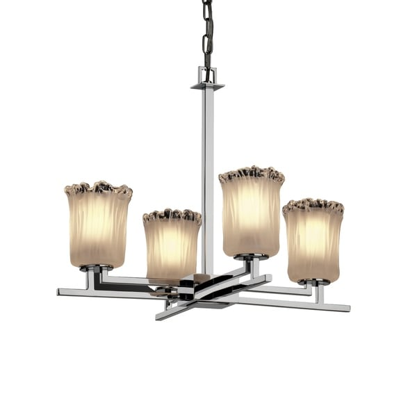 Justice Design Veneto Luce Aero Polished Chrome 4-light Chandelier, White Frosted Cylinder with Rippled Rim Shade