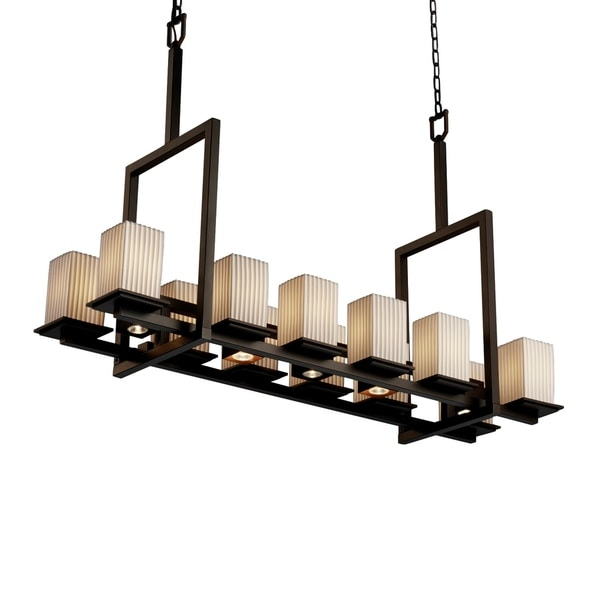 Justice Design Limoges Montana Dark Bronze 12-up and 5-downlight Chandelier, Tall Pleats Square with Flat Rim Shade