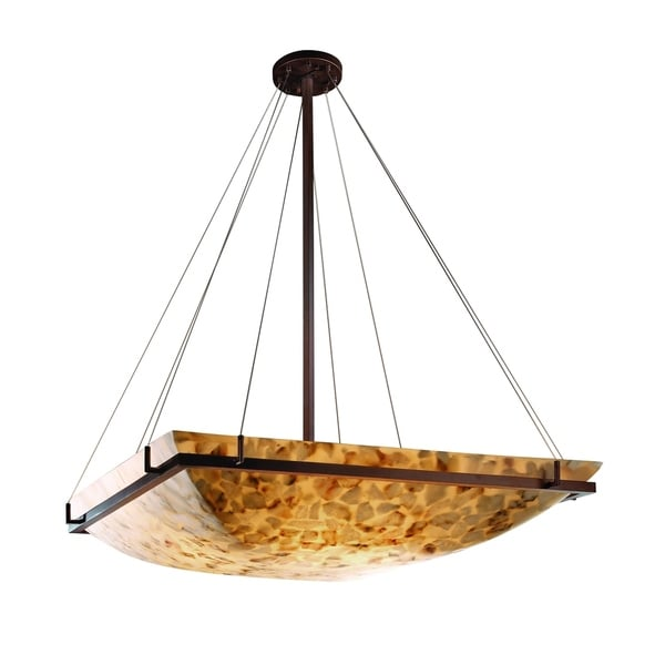 Justice Design Alabaster Rocks! Ring Dark Bronze 8-light Pendant, Alabaster Rocks Square Bowl Shade