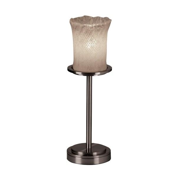 Justice Design Veneto Luce Dakota Brushed Nickel Table Lamp, Whitewash Cylinder with Rippled Rim Shade