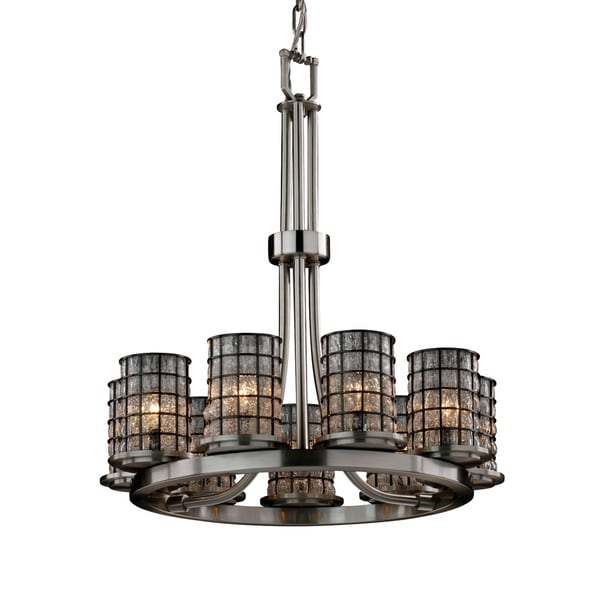 Justice Design Wire Glass Dakota Brushed Nickel 9-light Chandelier