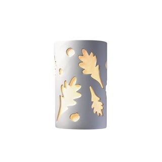 Justice Design Ambiance Bisque 2-light 13 inch ADA Wall Sconce, Oak Leaves Shade