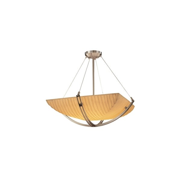 Justice Design Porcelina Crossbar Brushed Nickel 6-light Pendant, Waterfall Square Bowl Shade