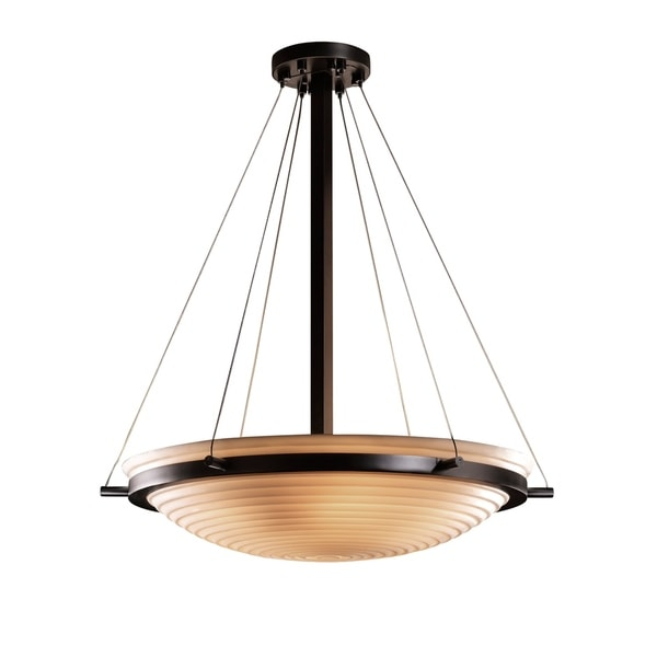 Justice Design Porcelina Ring Matte Black 6-light Pendant
