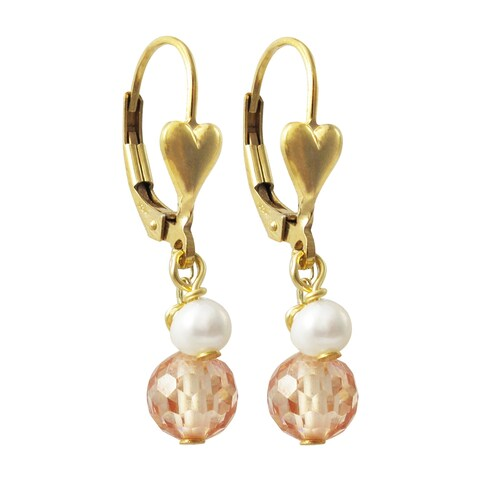 Luxiro Gold Finish Champagne Cubic Zirconia with Freshwater Pearl Dangle Earrings