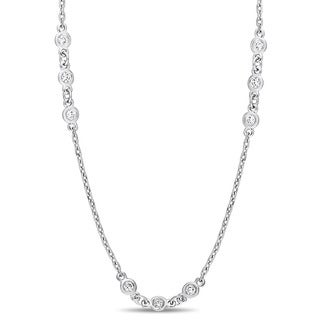 Miadora Signature Collection 14k Yellow Gold 1-1/6ct TDW Diamond Triple Station 32-Inch Necklace