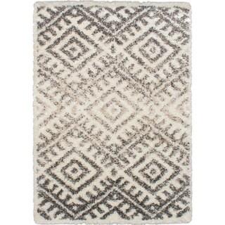 ecarpetgallery Machine-Made Mayan Grey, Ivory Shag (5'5 x 7'8)