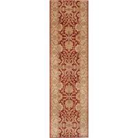 ecarpetgallery   Machine-Made Lotus Garden Coral Red Brown  Rug (2'8 x 10'0)