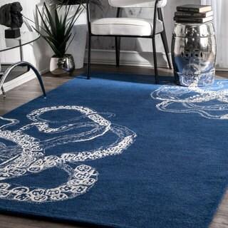 nuLoom Octopus Tail Navy Faux Silk/Wool Handmade Rug (6'0 x 9'0)