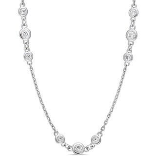 Miadora Signature Collection 14k White Gold 2 1/5ct TDW Diamond Triple Station 32-Inch Necklace