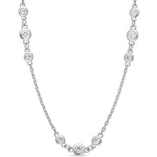 Miadora Signature Collection 14k White Gold 2 1/5ct TDW Diamond Triple Station 32-Inch Necklace