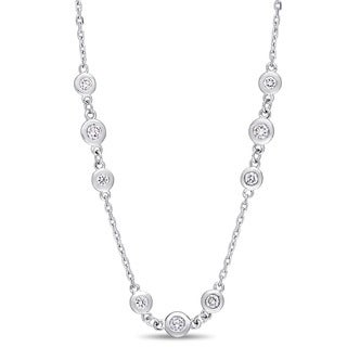 Miadora Signature Collection 14k White Gold 2-1/4ct TDW Diamond Triple Station 24-Inch Necklace