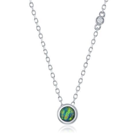 La Preciosa Sterling Sliver Danity Blue Opal Circle Bezel Set 16+2'' Neckalce