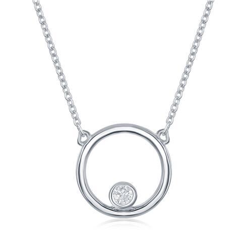 La Preciosa Streling Sliver Open Circle Bezel Set 16+2'' Necklace