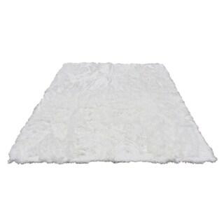 Soft and Plush White Faux Sheepskin Shag Area Rug - 8' x 10'
