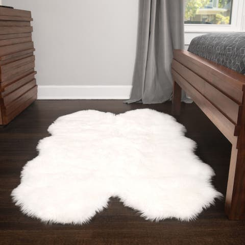 3x5 Soft and Plush Quad Pelt Faux Sheepskin Shag Rug