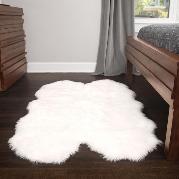 Soft And Plush Quad Pelt White Faux Sheepskin Shag Rug