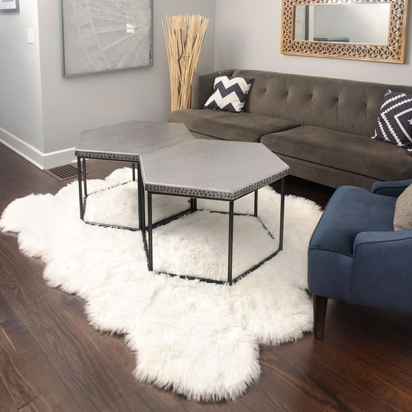 5x7 Soft And Plush Octo Pelt White Faux Sheepskin Shag Rug