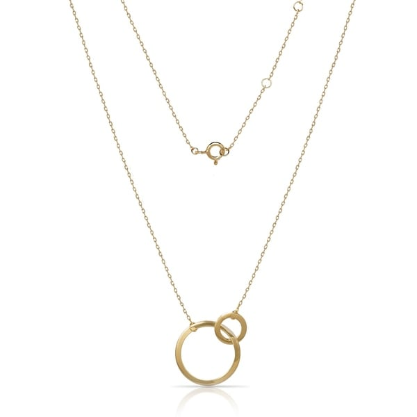 4ebc6338d31d2 Sterling Silver 18-Inch Adjustable High Polish Double Circle Necklace  (gold-plated or rhodium plated)