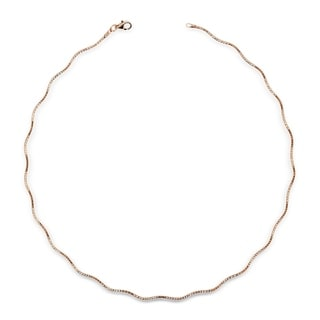 Italian Sterling Silver Wavy 2mm Rose-gold-plated Omega Necklace (16-20') - Pink