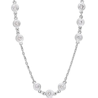 Miadora Signature Collection 14k White Gold 3 3/5ct TDW Diamond Triple Station 32-Inch Necklace
