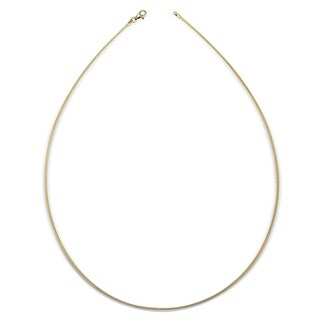 Italian Sterling Silver Round 2mm Yellow-gold-plated Omega Necklace (16-20') - Yellow