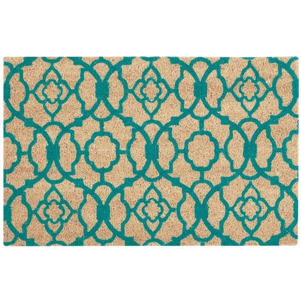 "Waverly Greetings ""Lovely Lattice"" Aqua Doormat by Nourison - 2' x 3'"