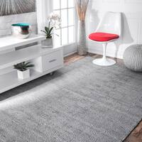 nuLoom Concentric Diamond Grey Wool/ Cotton Handmade Flatweave Area Rug - 6' x 9'