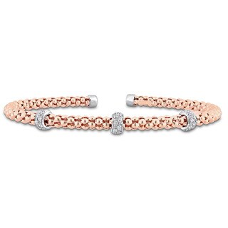 Miadora Signature Collection 2-Tone 14k White and Rose Gold 1/5ct TDW Diamond Station Popcorn Rondelle Open Bangle