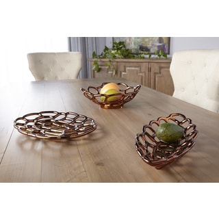 Sagebrook Home-Ceramic Round Decorative Tray, Bronze