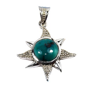 Handmade Sterling Silver Turquoise Pendant Necklace (india)