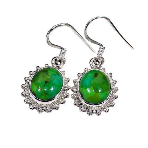 Handmade Sterling Silver Gemstone Dangle Earrings (India)