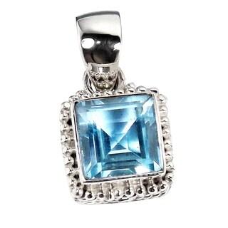 Handmade Sterling Silver Blue Topaz Gemstone Pendant Necklace (India)