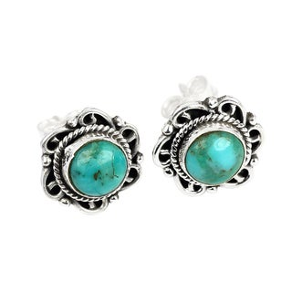 Handmade Sterling Silver Gemstone Post Earrings (India) (Option: Larimar)