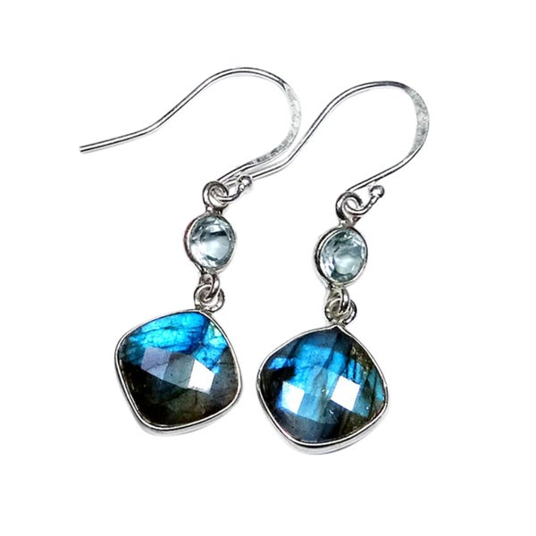 4e03b4e16 Shop Sterling Silver Labradorite and Blue Topaz Earrings (India) - Brown -  On Sale - Free Shipping On Orders Over $45 - Overstock - 17836352