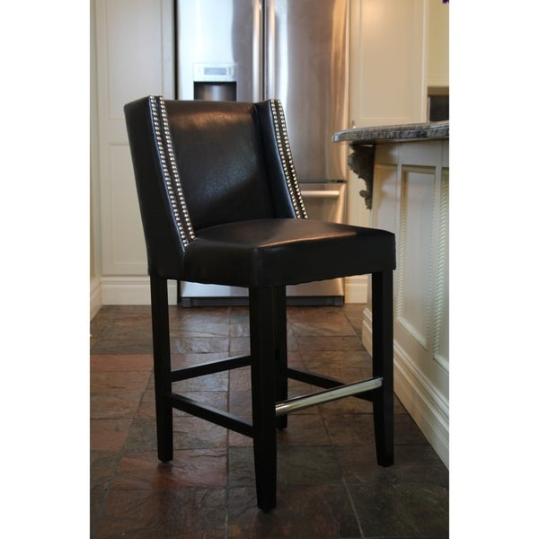 Shop Tina Counterstool Black Leather Free Shipping Today