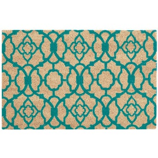 "Waverly Greetings ""Lovely Lattice"" Aqua Doormat by Nourison (1'6 x 2'4)"