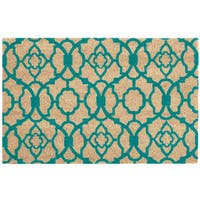 "Waverly Greetings ""Lovely Lattice"" Aqua Doormat by Nourison - 1'6 x 2'4"