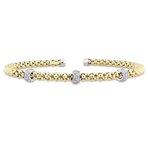Miadora Signature Collection 2-Tone 14k White and Yellow Gold 1/5ct TDW Diamond Station Popcorn Rondelle Open Bangle