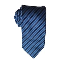 James Cavolini Italy Classic Striped Blue Neck Tie