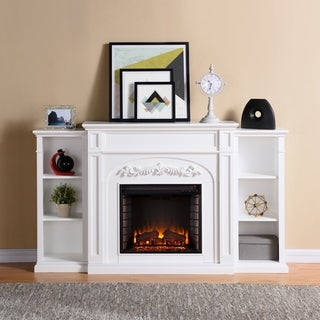 Harper Blvd Oxley White Bookcase Electric Fireplace - Thumbnail 0