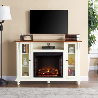 Copper Grove Sand Ridge Antique White and Walnut Finish Wood Electric Fireplace TV Stand