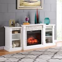 Gracewood Hollow Gould White Simulated Stone Infrared Electric Fireplace