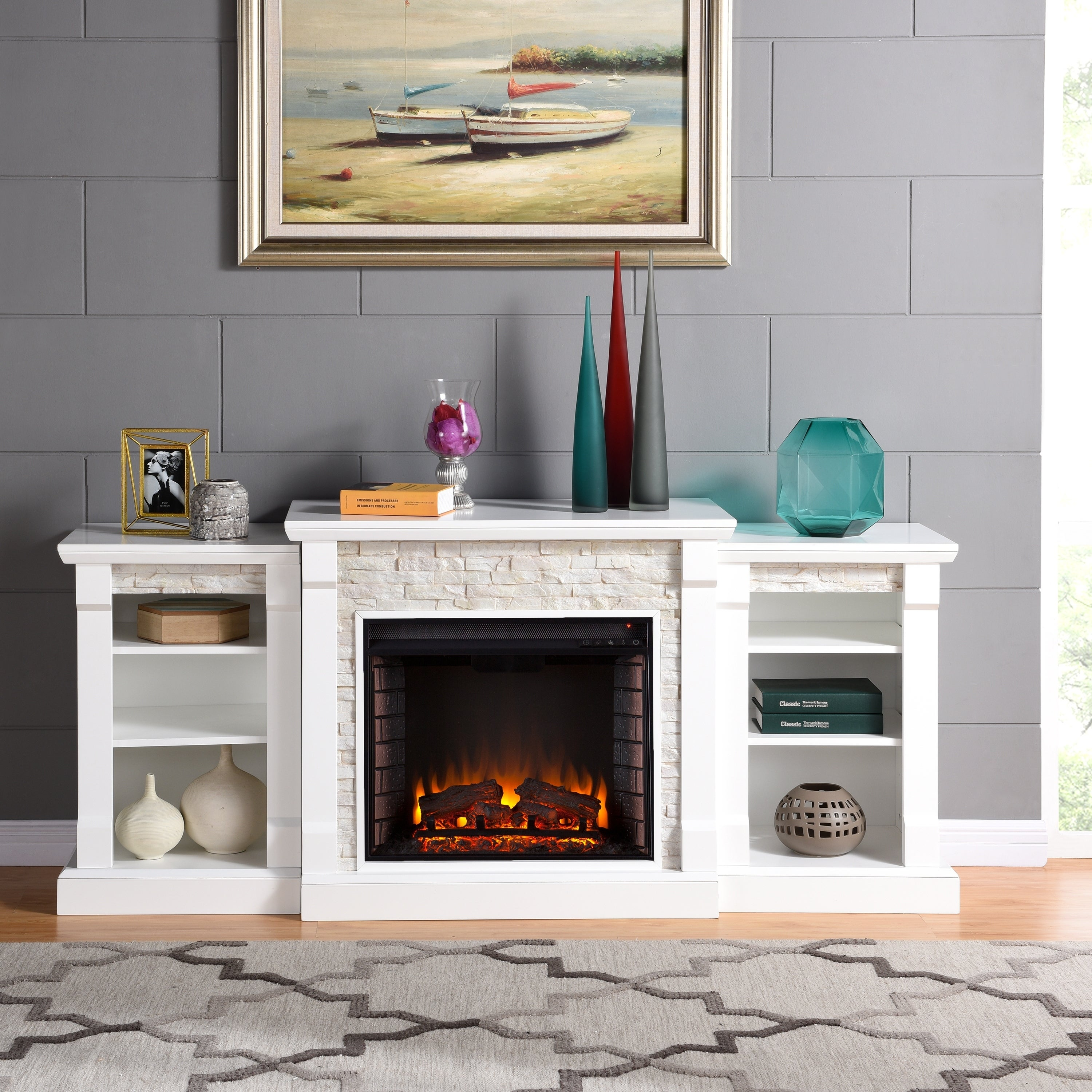 Shop harper blvd grissom white simulated stone engineered for Engineered fireplace