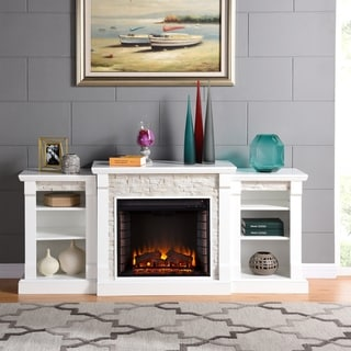 Harper Blvd Grissom White Simulated Stone/Engineered Wood/Poplar Electric Fireplace and Bookcases