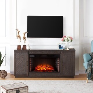 Harper Blvd Calmont Espresso Wood 33-inch Widescreen Electric Fireplace TV Stand