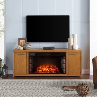 Strick & Bolton Rui Oak Finish Engineered Wood/Birch Veneer/Rubberwood 33-inch Widescreen Electric Fireplace